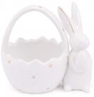 """Цукерниця """"Розумний Кролик"""" 15.5х12х15см керамічна з фігуркою кролика, золотий горошок"""