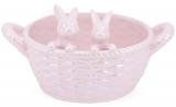 """Цукерниця декоративна """"Кошик з кроликами"""" (фруктовница) 23см, рожевий перламутр"""