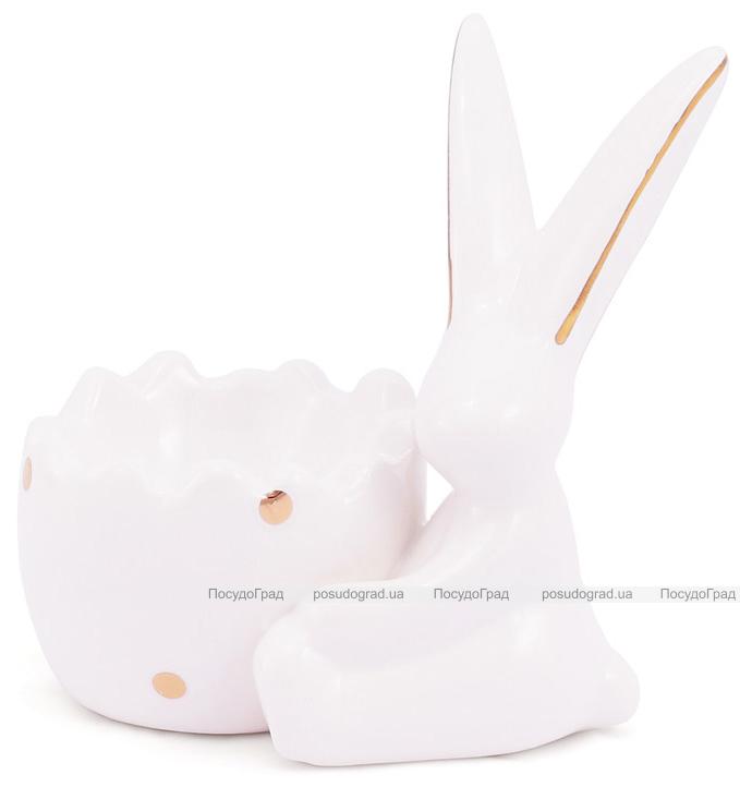 """Подставка для яйца """"Умный кролик"""" 10см, белая с фигуркой кролика"""