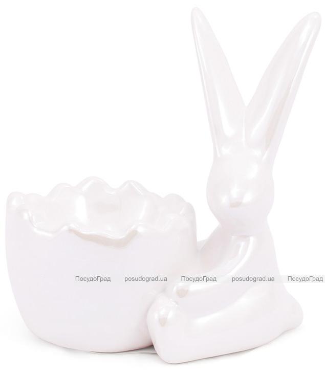 """Подставка для яйца """"Умный кролик"""" 10см, перламутровая белая с фигуркой кролика"""