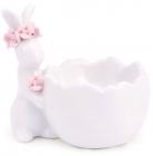 """Подставка для яйца """"Кролик с розовым веночком"""" керамическая"""