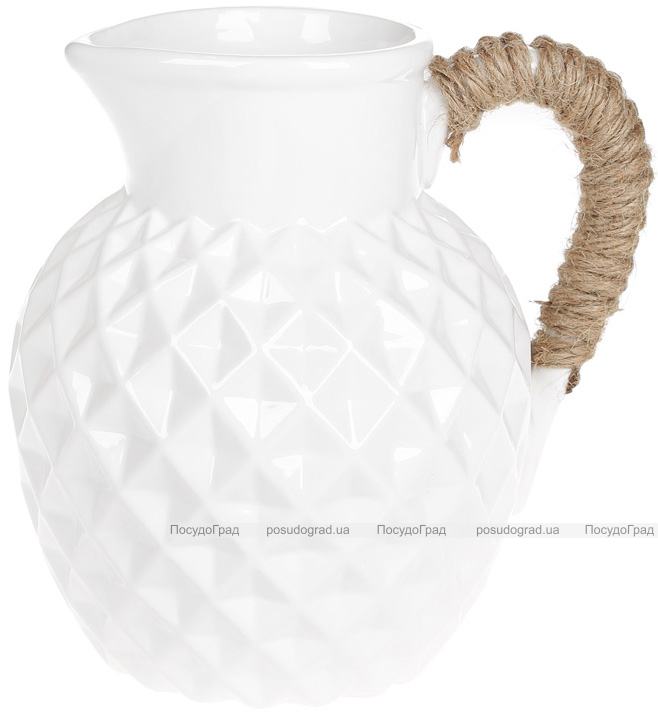 "Ваза керамічна Stone Flower ""Jug"" 19см, біла"