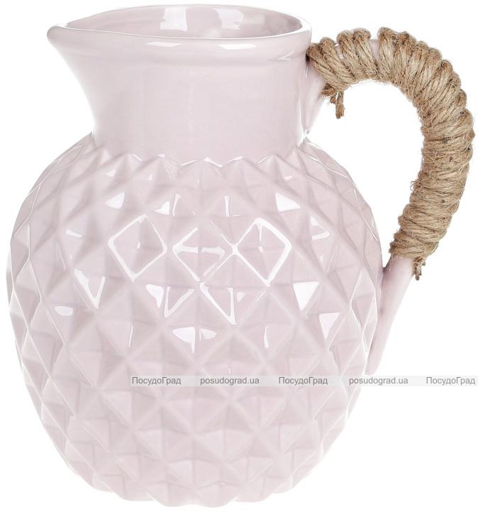 """Ваза керамічна Stone Flower """"Jug"""" 19см, пісочний рожевий"""