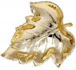 """Набір 4 керамічних декоративних блюда Goreidh """"Кленове листя"""" 17.5х16см, золото"""