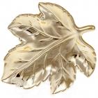 """Набір 6 керамічних декоративних блюд Goreidh """"Кленове листя"""" 15х13х2см, золото"""