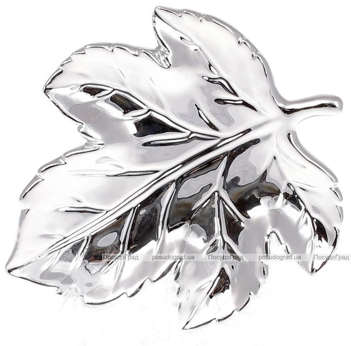 """Набор 6 керамических декоративных блюд Goreidh """"Кленовый лист"""" 15х13х2см, серебро"""
