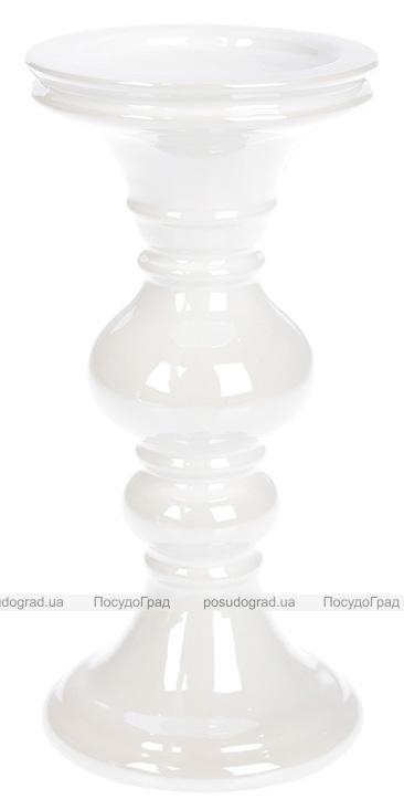 Підсвічник керамічний Goreidh 10.5х10.5х22см, білий перламутр
