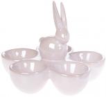 """Підставка для яєць """"Кролик"""" керамічна 15х15х12см на 5 секцій, рожевий перламутр"""