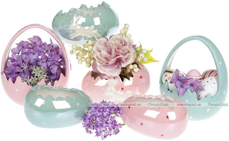 """Набор 2 декоративных кашпо """"Яйцо"""" 13х8.5х7.2см, розовый перламутр"""