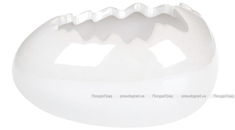 """Набор 2 декоративных кашпо """"Яйцо"""" 13х8.5х7.2см, белый перламутр"""