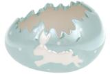 """Набір 2 декоративних кашпо """"Яйце"""" Зайка 15х11.2х10.3см, бірюзовий перламутр"""