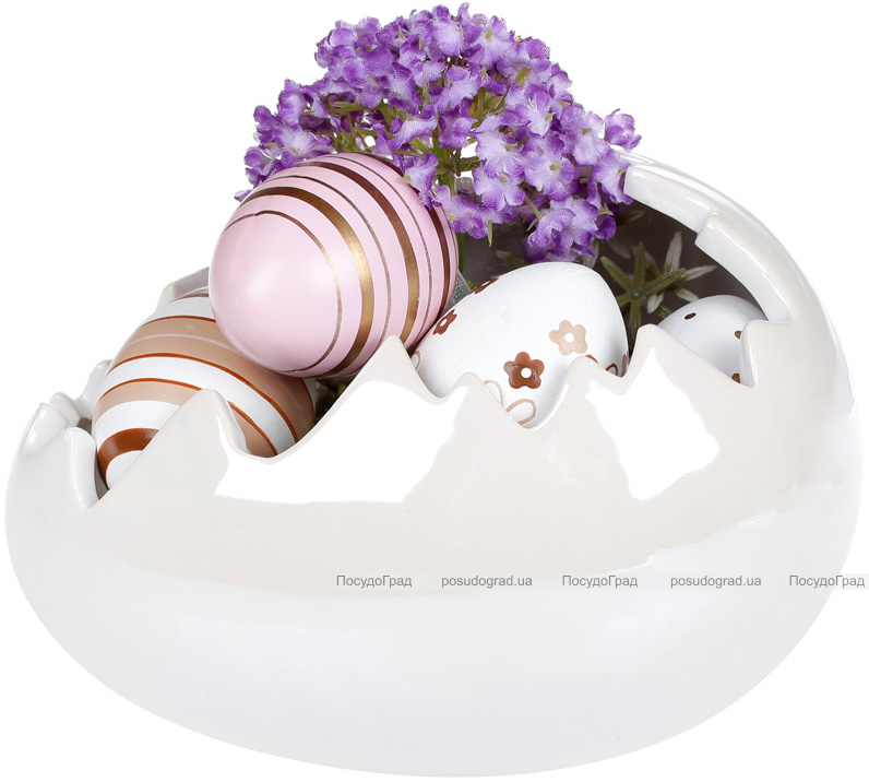 """Декоративное кашпо """"Яйцо"""" 18х13х11см, белый перламутр"""