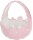 """Декоративное кашпо (конфетница) """"Яйцо"""" 14х13.5х17см, розовый перламутр"""