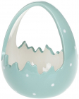"""Декоративне кашпо (цукерниця) """"Яйце"""" 14х13.5х17см, бірюзовий перламутр"""