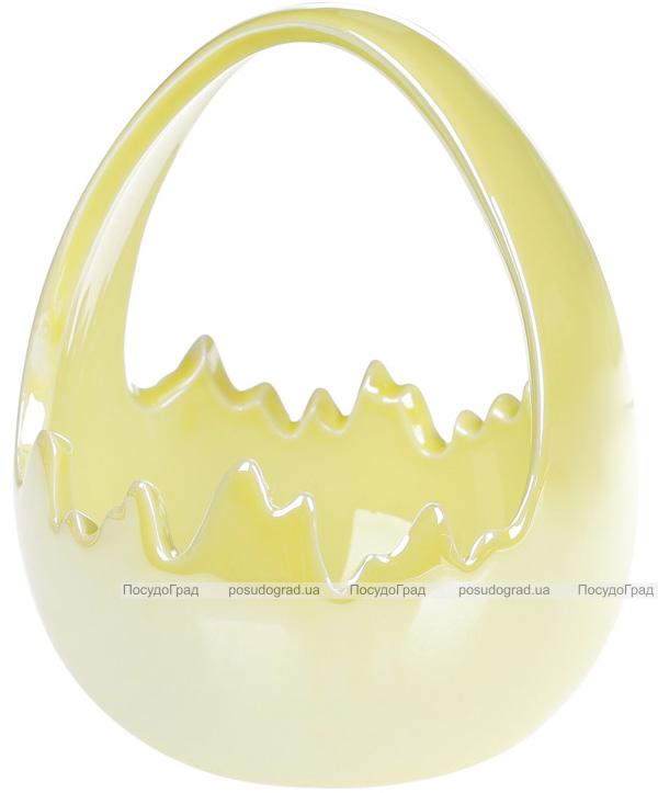 """Декоративное кашпо (конфетница) """"Яйцо"""" 14х13.5х17см, яблочный перламутр"""