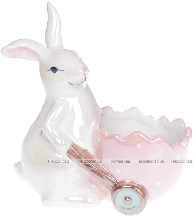 """Декоративное кашпо """"Зайчик с розовой тележкой"""" 21.5х12х22.5см, перламутр"""