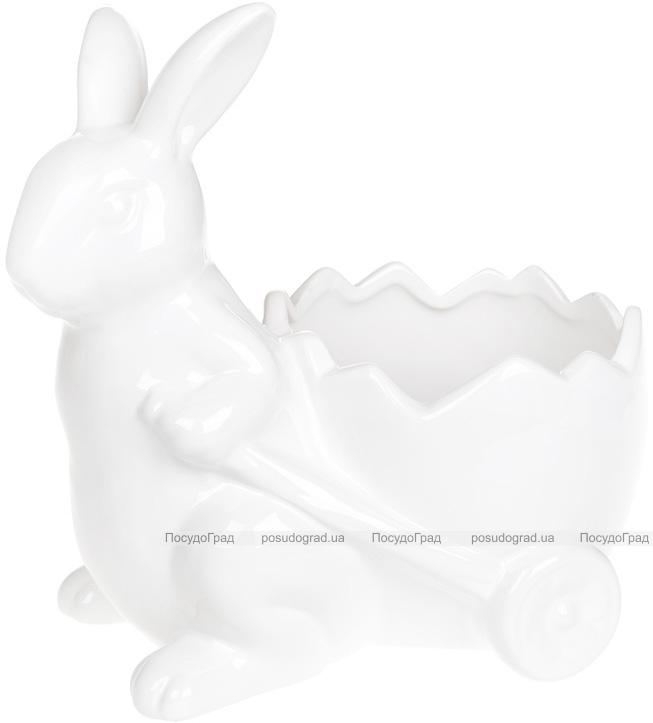 """Декоративне кашпо """"Зайчик з візочком"""" 22х15х22см, білий"""