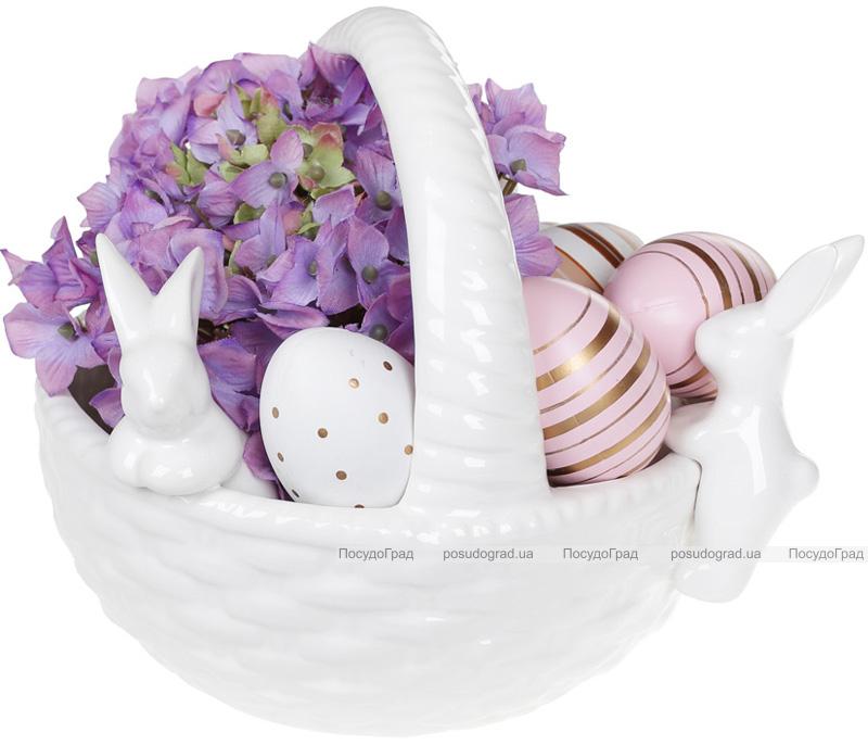 """Цукерниця декоративна """"Кошик з кроликами"""" (фруктовниця) 22х19х17.2см, білий"""