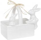 """Цукерниця декоративна """"Кошик з кроликами"""" 15.8х10.8х12.5см, білий"""
