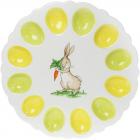 """Тарілка блюдо-підставка для яєць """"Зайчик з морквою"""" Ø31.5см, на 12 яєць"""