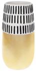 Ваза керамическая Kamarin 25.5см черные полосы с золотом