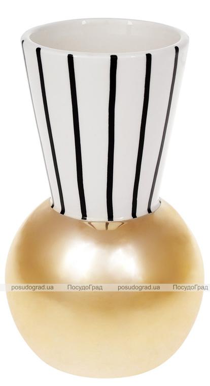 Ваза керамічна Kamarin 19.3см чорні смуги з золотом