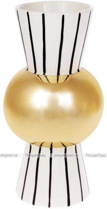 Ваза керамічна Kamarin 24см чорні смуги з золотом