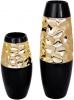 Ваза керамічна Vjosa 38см, чорний з золотом