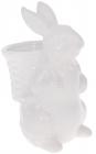 """Статуетка керамічна """"Розумний Кролик"""" 13.5х10.5х21см з міні-кашпо, білий"""