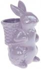 """Статуетка керамічна """"Розумний Кролик"""" 13.5х10.5х21см з міні-кашпо, бузковий перламутр"""