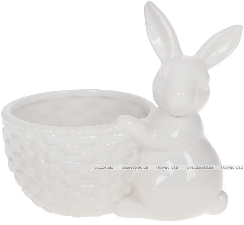"""Декоративне кашпо """"Кролик з кошиком"""" 16х10.5х14см, білий"""
