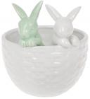 """Декоративне кашпо """"Кролики у кошику"""" 14х13.5х15.2см, білий з м'ятним"""
