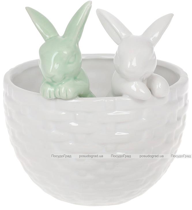 """Декоративное кашпо """"Кролики в корзинке"""" 14х13.5х15.2см, белый с мятным"""
