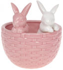 """Декоративне кашпо """"Кролики у кошику"""" 14х13.5х15.2см, рожевий з білим"""