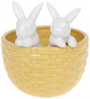 "Декоративне кашпо ""Кролики у кошику"" 14х13.5х15.2см, жовтий з белым"