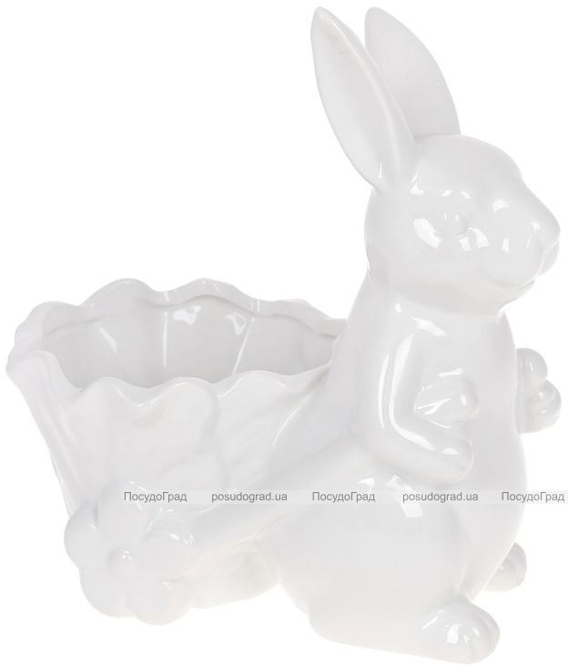 """Декоративне кашпо """"Кролик з візочком"""" 20.5х12.3х21см, білий"""