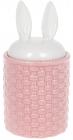 """Банку для продуктів """"Заячі вушка"""" 950мл кераміка, рожевий з білим"""