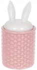 """Банку для продуктів """"Заячі вушка"""" 550мл кераміка, рожевий з білим"""