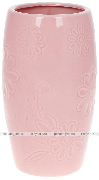 """Ваза """"Розовая Ромашка"""" 12.5х12.5х21.8см керамическая розовая"""