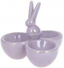 """Підставка для яєць """"Кролик"""" керамічна 11.5х11х10см на 3 секції, бузковий перламутр"""
