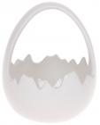 """Декоративна цукерниця """"Яйце"""" 14х13.5х17см (кашпо), біла"""