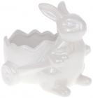 """Декоративне кашпо """"Кролик з візочком"""" 16.5х13х15см, білий перламутр"""