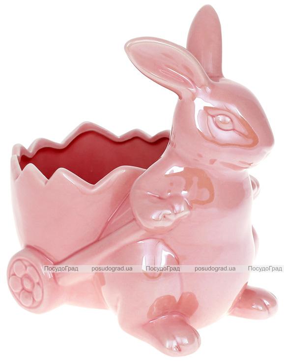 """Декоративне кашпо """"Кролик з візочком"""" 22х15х22см, рожевий перламутр"""