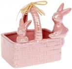 """Цукерниця декоративна """"Кошик з кроликами"""" 15.8х10.8х12.5см, рожевий перламутр"""