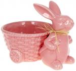 """Декоративне кашпо """"Зайчик з кошиком"""" 20х15х15.5см, рожевий"""