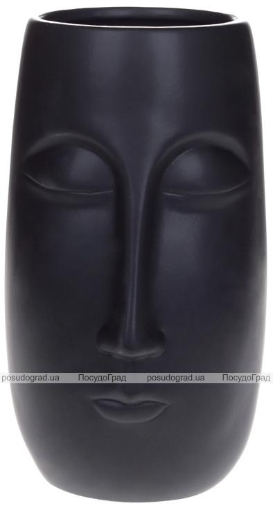 """Ваза керамічна """"Illusion Обличчя"""" 15.8х14х25см, матовий чорний"""