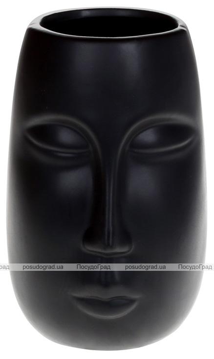 """Ваза керамічна """"Illusion Обличчя"""" 11.5x11x17см, матовий чорний"""