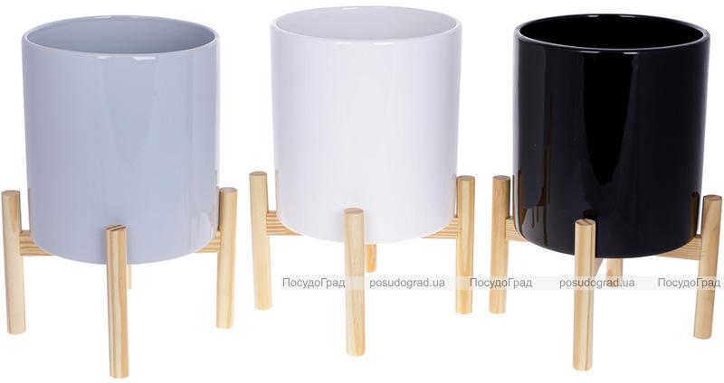 """Кашпо керамическое """"Флора"""" на бамбуковой подставке 20х20х37см, серый глянец"""