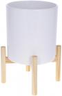 """Кашпо керамічне """"Флора"""" на бамбуковій підставці 20х20х37.3см, білий глянець"""