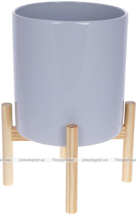 """Кашпо керамічне """"Флора"""" на бамбуковій підставці 20х20х37см, сірий глянець"""